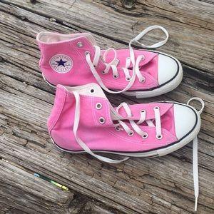 Pink converse hi top chuck taylor women's 6